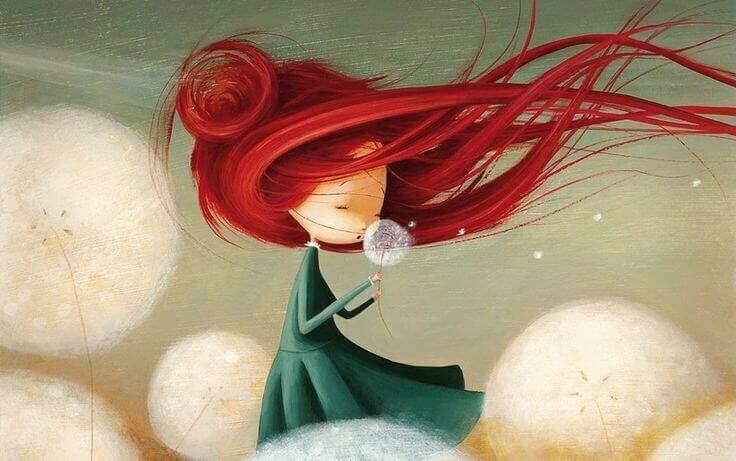 민들레와 붉은 머리의 소녀
