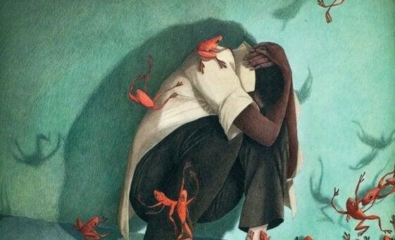 남자 개구리 공격