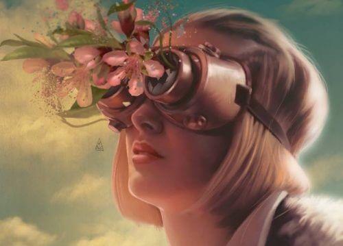 여자 꽃 망원경