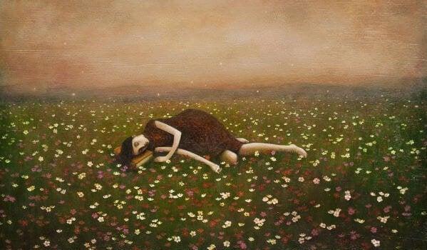 여자 꽃밭