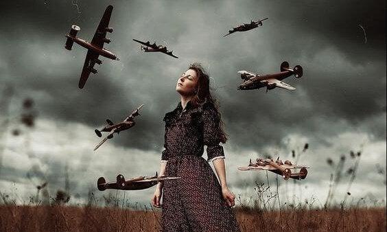 여자 비행기