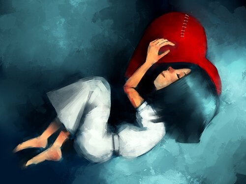 꿰맨 빨간 하트 방석을 베고 자는 여자 그림