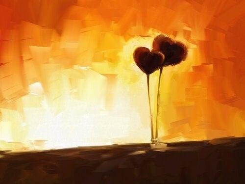 스틱에 꼽힌 두개의 하트 그림: 플라토닉 사랑