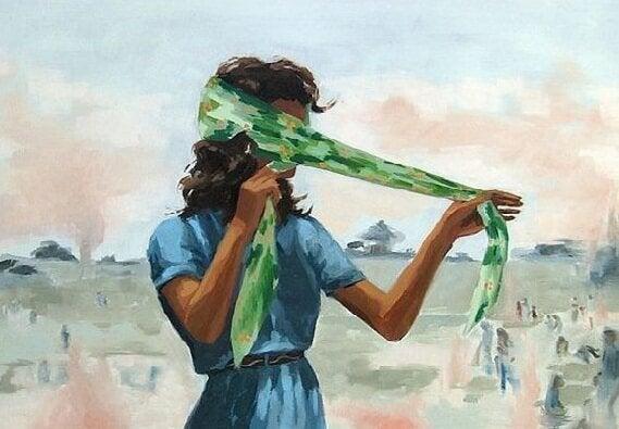 스카프로 눈을 가리는 여자 그림