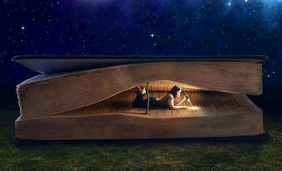 커다란 책 사이에서 책을 읽는 여자 그림