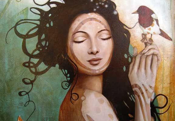얼굴에 원이 그려지고 손에 새를 가진 여자 그림: 오스카르 소리아