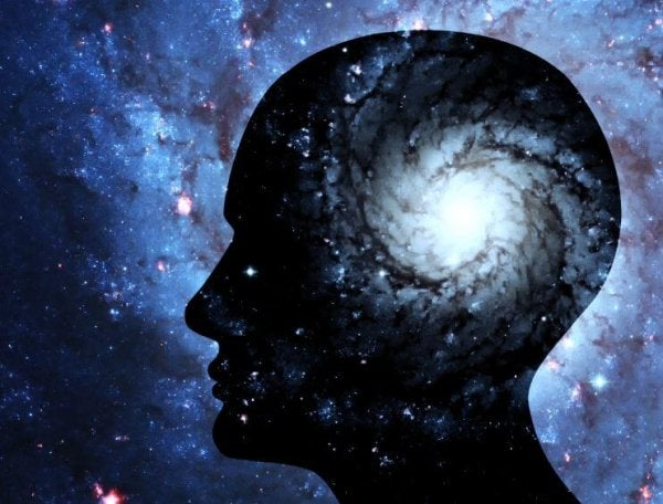우주 속에 사람 머리 그림자 그림