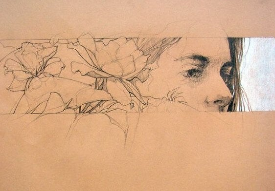 여자의 눈,코, 꽃 그림