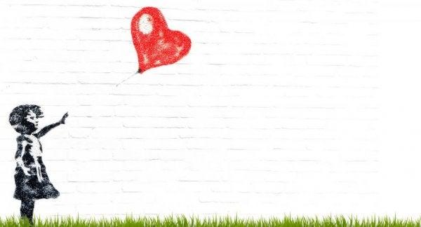 빨간 하트 풍선을 놓친 여자 아이 그림