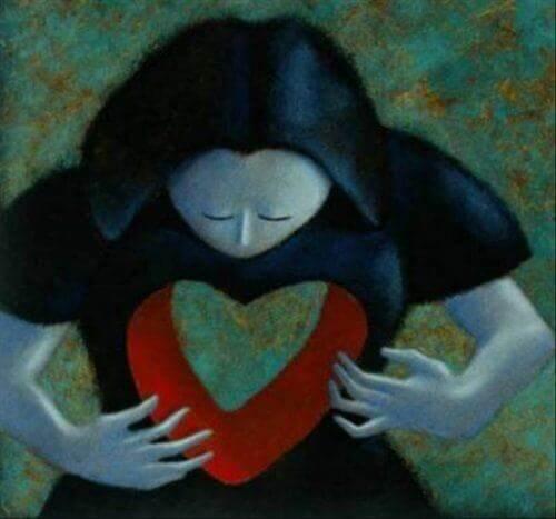 하트 모양으로 가슴 부분이 뚫린 여자 그림; 공허함은 과도함 뒤에 숨어있다