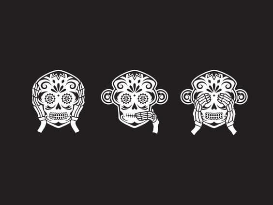 3마리 해골 원숭이 그림