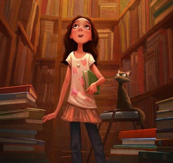 도서관에 있는 여자아이와 고양이 긞