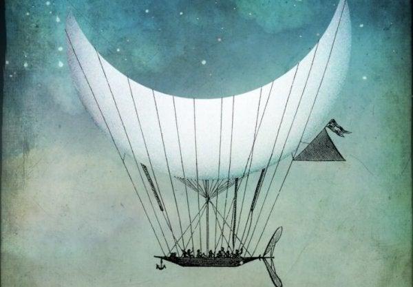 달에 줄을 달고 매달려가는 보트 그림