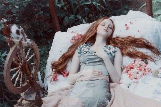 숲 속 침대위에 누운 여자 그림