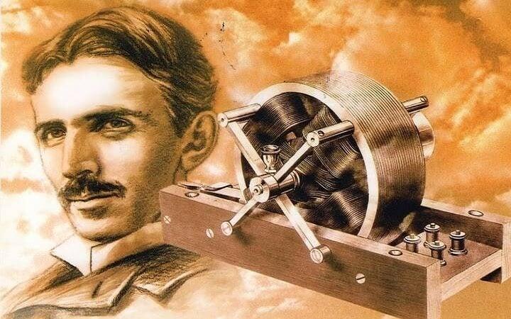 니콜라 테슬라의 발명품과 얼굴 그림