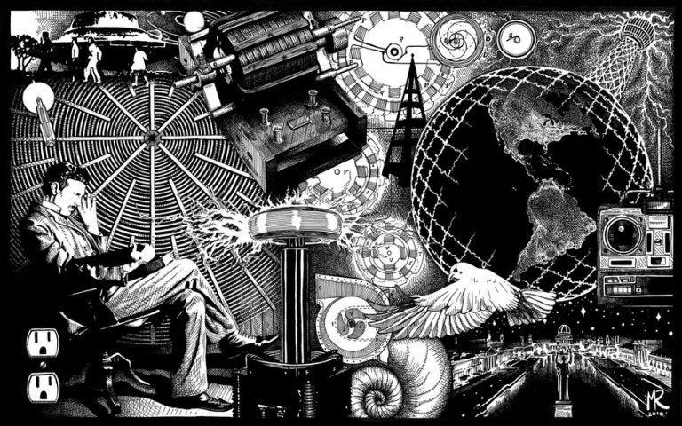 다양한 발명품 속에 테슬라 흑백 그림