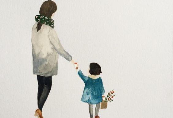 손을 잡고 있는 엄마와 딸 그림