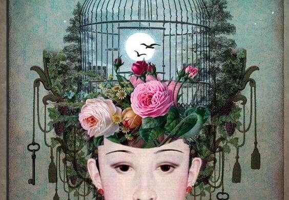 머리 위에 열린 새장이 있는 여자 그림: 날아오르는 것을 막는 끈