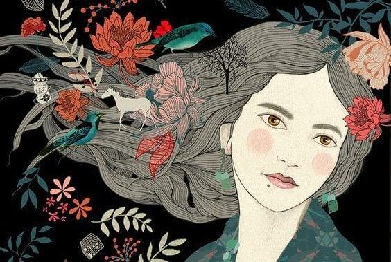 머리 카락에 꽃과 동물이 뛰노는 여자 그림