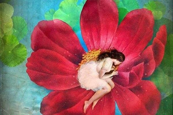 꽃에 누운 여인