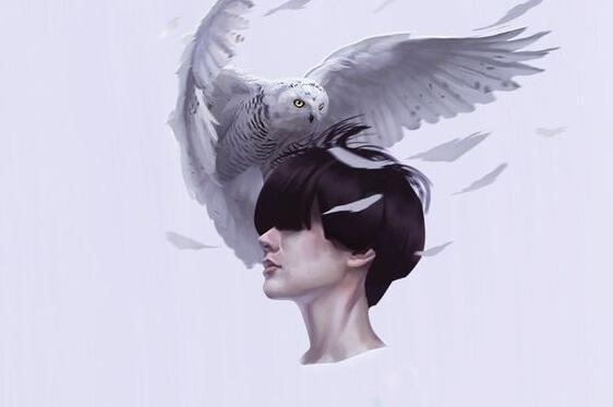 머리에 새가 오른 여성
