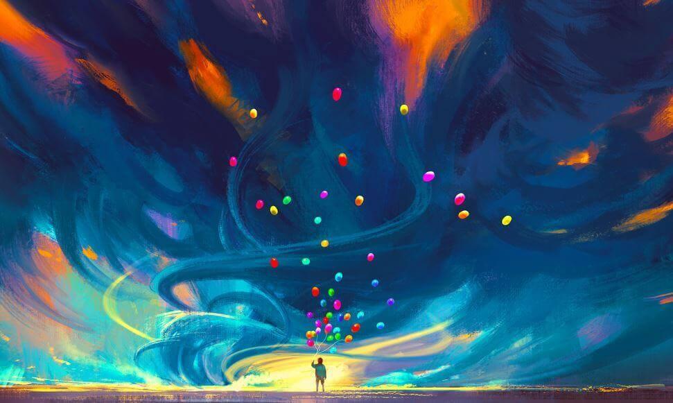 사람과 색색의 풍선