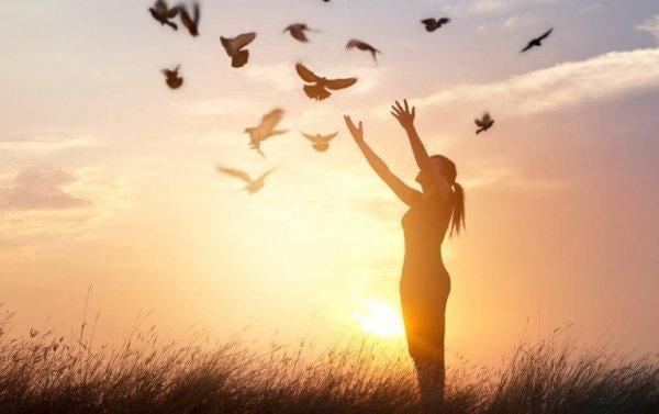 새를 날리는 여성