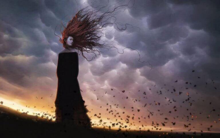 머리가 하늘에 날리는 여자