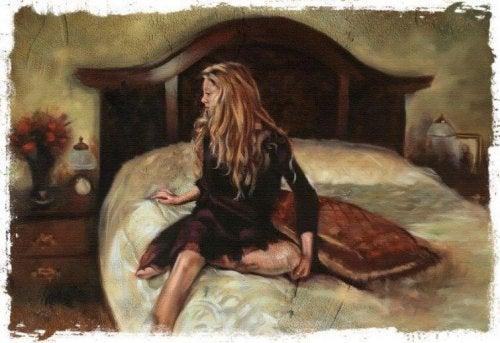 침대위의 여성