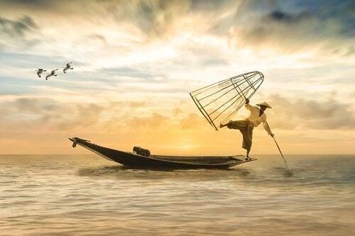 일본의 어부 사진