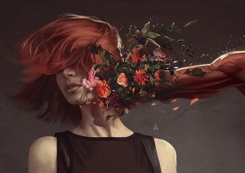 플라스틱, 유리, 강철, - 여성 꽃으로 맞는 모습