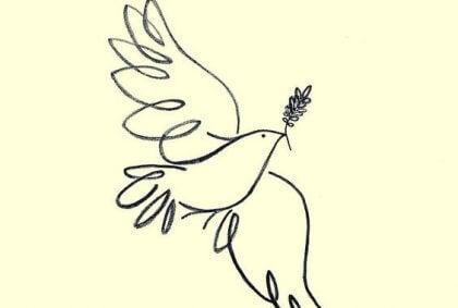 폭력에 대한 인용문과 평화의 비둘기