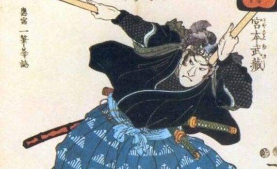 사무라이와 그의 검을 보여주는 그림