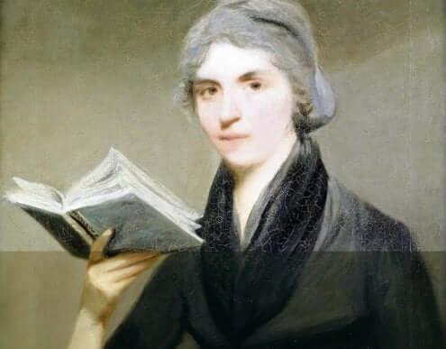 메리 울스턴그래프트가 책을 든 초상화