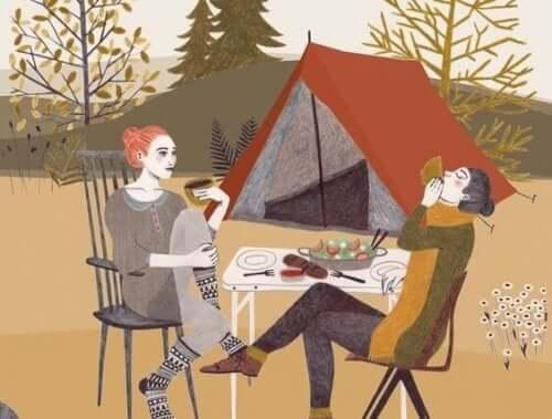캠핑을 즐기는 커플