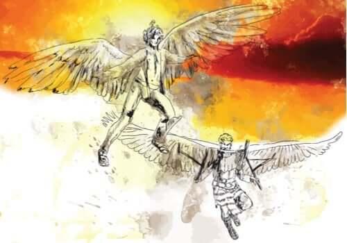 다이달로스 - 아들 이카로스와 함께 비행