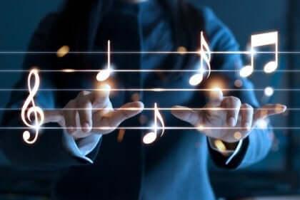 음악 노트를 연주하는 남자